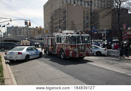 BRONX NEW YORK USA - APRIL 10: Police and fire vehicle road block for Yankee Stadium opening game. Taken April 10 2017 in New York.