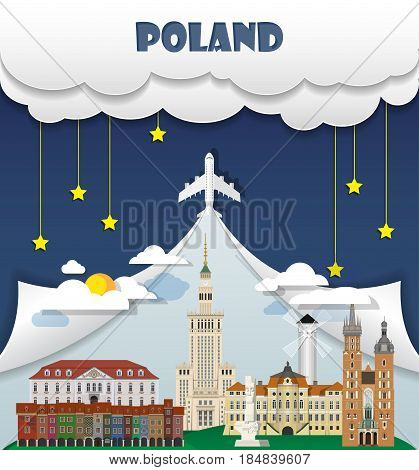 Poland Travel Background Landmark Global Travel And Journey Infographic Vector Design Template. Illu
