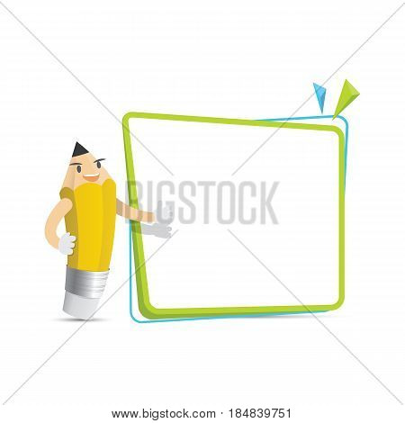 Pencil Character Cartoon Design And Text Box Frame For Message Illustration Vector. Education Concep