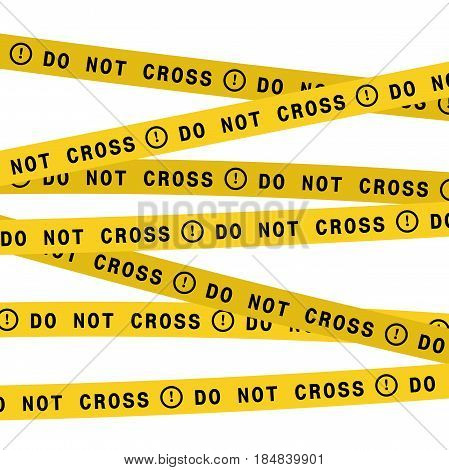 Vector police line do not cross tape. Security ribbon