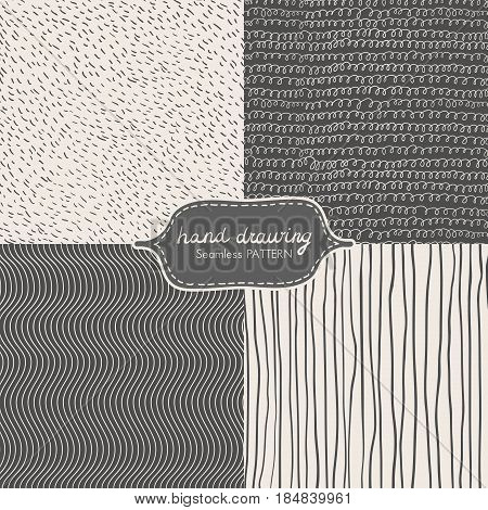 Hand Drawing Seamless Pattern with Dash, Scribble, Wave, Line. Vector illustration