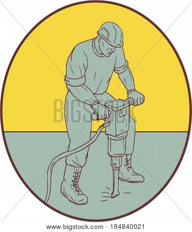 Drawing sketch style illustration of a construction worker operating a jack hammer pneumatic drill drilling excavation work set inside oval shape on isolated background.