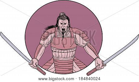 Drawing sketch style illustration of a raging Samurai warrior holding two swords viewed from front set inside oval on isolated background.