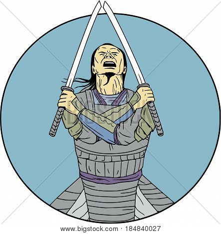 Drawing sketch style illustration of a Samurai warrior holding two swords with arms crossed looking up viewed from front set inside circle on isolated background.