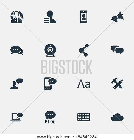Vector Illustration Set Of Simple Blogging Icons. Elements Man Considering, E-Letter, Gossip And Other Synonyms Alphabet, Profile And Loudspeaker.