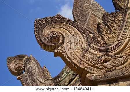Pediment detail in Banteay Srei Temple, Cambodia.