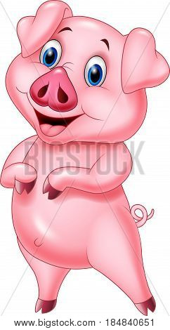 Vector illustration of Cartoon pig posing isolated on white background