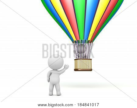 3D Character flying away in a hot air balloon and waving goodbye. Image can depict any departure scenario