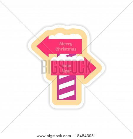 paper sticker on white background Christmas New Year signpost