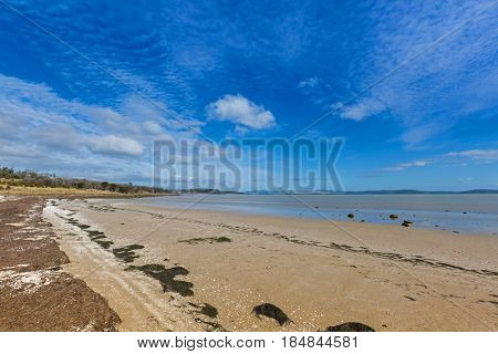 Peaceful afternoon at Dunalley Beach, Frederic Henry Bay, east coast of Tasmania, along Arthur highway, Australia