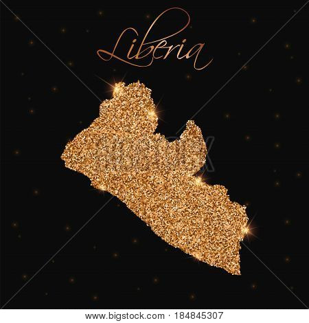 Liberia Map Filled With Golden Glitter. Luxurious Design Element, Vector Illustration.