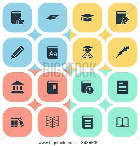 Vector Illustration Set Of Simple Knowledge Icons. Elements Tasklist, Academic Cap, Plume And Other Synonyms Pen, Building And Recommended.
