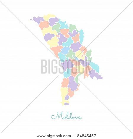 Moldova Region Map: Colorful With White Outline. Detailed Map Of Moldova Regions. Vector Illustratio