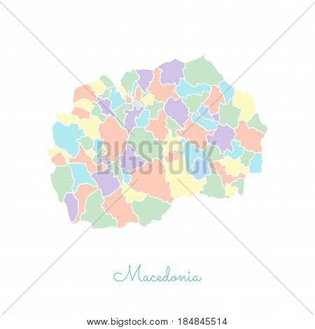 Macedonia Region Map: Colorful With White Outline. Detailed Map Of Macedonia Regions. Vector Illustr