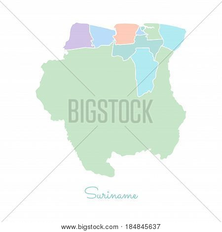 Suriname Region Map: Colorful With White Outline. Detailed Map Of Suriname Regions. Vector Illustrat
