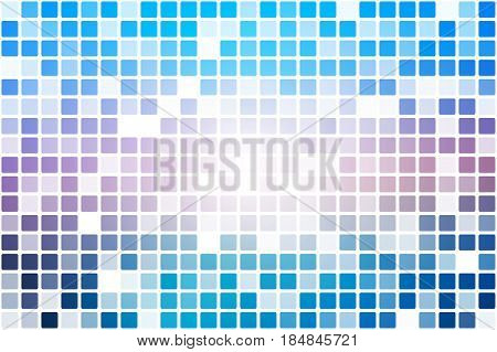 Blue shades pink occasional opacity square tiles mosaic over white background