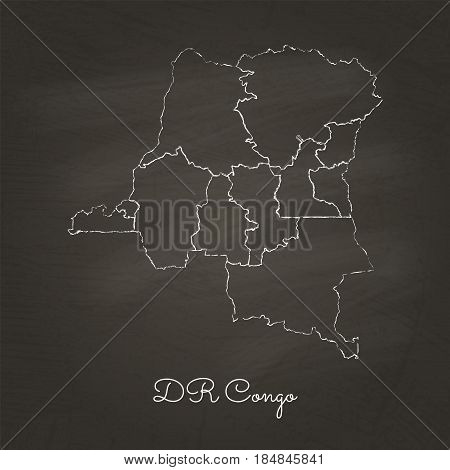 Dr Congo Region Map: Hand Drawn With White Chalk On School Blackboard Texture. Detailed Map Of Dr Co