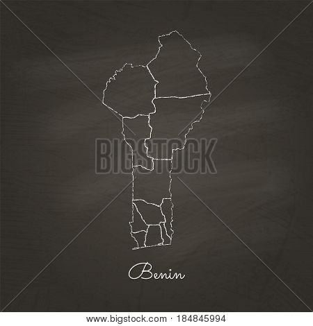 Benin Region Map: Hand Drawn With White Chalk On School Blackboard Texture. Detailed Map Of Benin Re