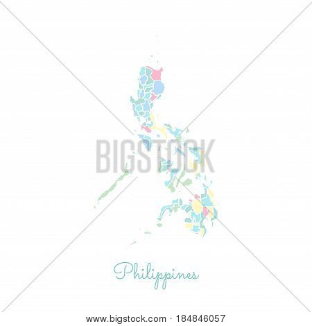 Philippines Region Map: Colorful With White Outline. Detailed Map Of Philippines Regions. Vector Ill