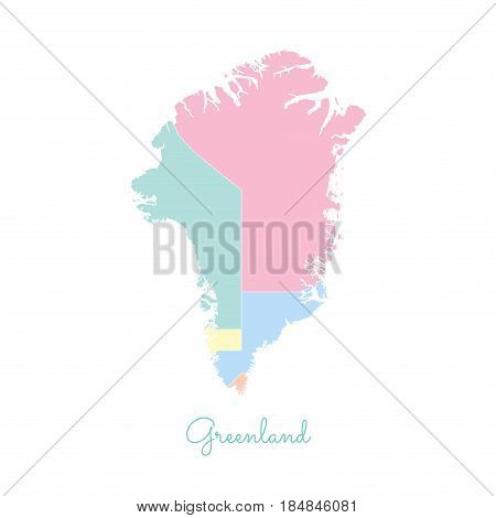 Greenland Region Map: Colorful With White Outline. Detailed Map Of Greenland Regions. Vector Illustr