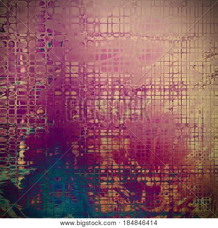 Grunge background with delicate aged texture. Antique backdrop with retro vintage elements and different color patterns: yellow (beige); brown; blue; red (orange); purple (violet); pink