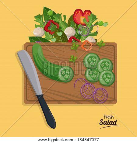 fresh salad onion cucumber slice kanife vegetables fresh vector illustration