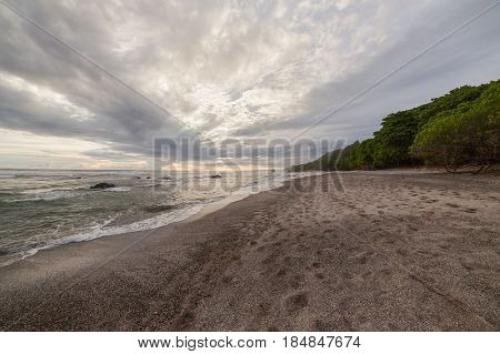 Tropical beach and forest at santa teresa costa rica