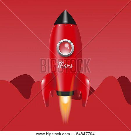 Red Rocket. go to Mars. Vector illustration