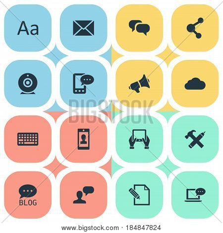 Vector Illustration Set Of Simple Newspaper Icons. Elements Gossip, Man Considering, E-Letter And Other Synonyms Profile, Cedilla And Camera.
