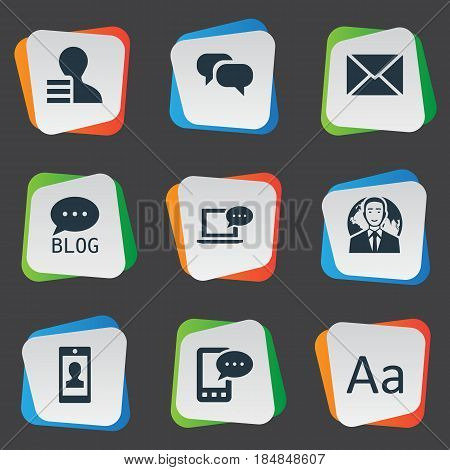 Vector Illustration Set Of Simple User Icons. Elements Laptop, Profile, Site And Other Synonyms Alphabet, Forum And Message.