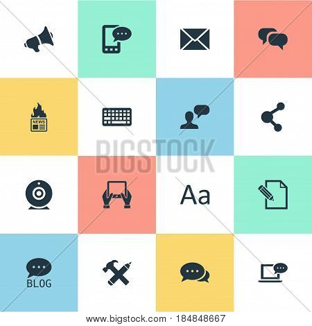 Vector Illustration Set Of Simple User Icons. Elements Man Considering, Broadcast, Site And Other Synonyms Hammer, Hot And Share.