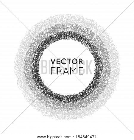 Hand-drawn circle. Elements for desicn. Vector illustration