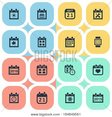 Vector Illustration Set Of Simple Calendar Icons. Elements Intelligent Hour, Event, Date Block And Other Synonyms Agenda, Time And Event.