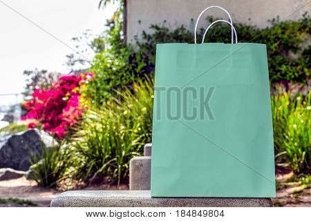 A shopping bag with copy space sitting in a park.
