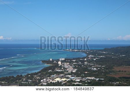 Aerial view of Saipan coastline Saipan coastal view from San Antonio village to Garapan.