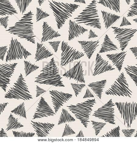 Hand drawn seamless pattern witn pensil triangle