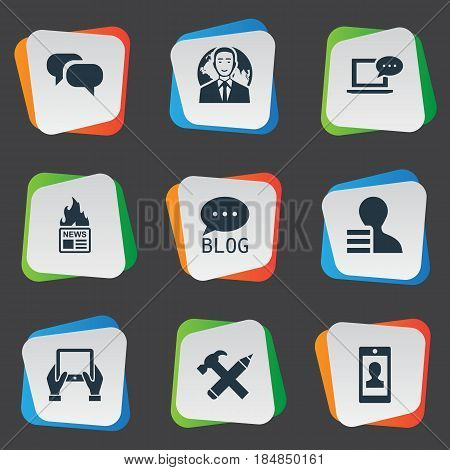 Vector Illustration Set Of Simple Newspaper Icons. Elements Gossip, Repair, Gazette And Other Synonyms News, Speech And Tablet.