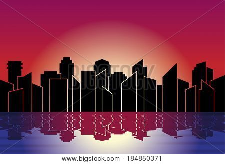 City silhouette. Skyline at night in sunset, with reflection in water. Vector illustration