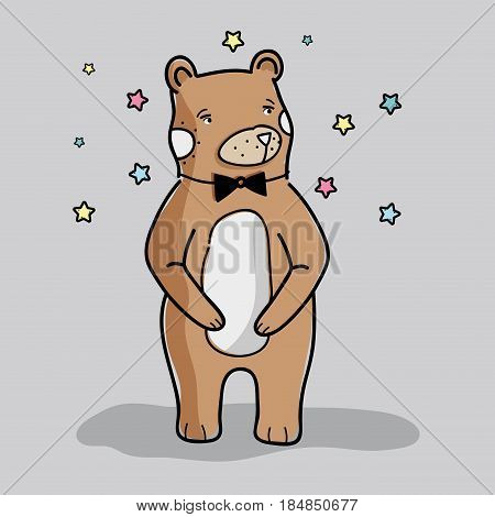 cute wild bear with black bow tie, vector illustration