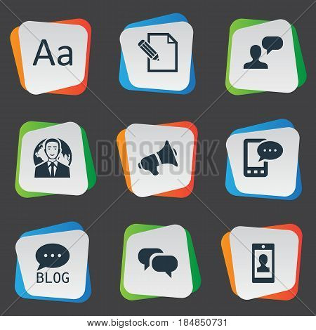 Vector Illustration Set Of Simple User Icons. Elements Cedilla, Man Considering, Profile And Other Synonyms Message, Cedilla And Pen.