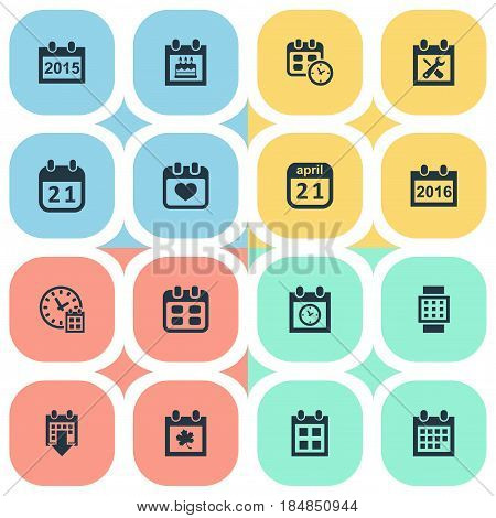 Vector Illustration Set Of Simple Plan Icons. Elements Date Block, Annual, History And Other Synonyms Remembrance, Day And Almanac.