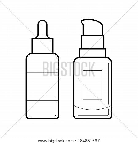 Thin line containers for foundation or bb and cc cream. Icons of tube and glass bottle with dispenser. Vector blank simbol of packaging for cosmetic product