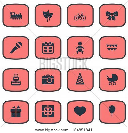 Vector Illustration Set Of Simple Celebration Icons. Elements Resonate, Baby Carriage, Confectionery And Other Synonyms Gift, Resonate And Mask.