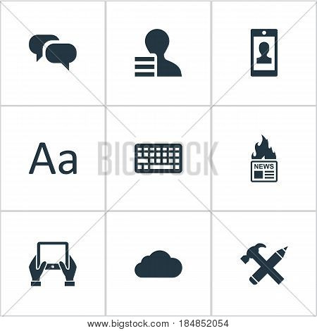 Vector Illustration Set Of Simple Newspaper Icons. Elements Gain, Gossip, Gazette And Other Synonyms Overcast, News And Man.