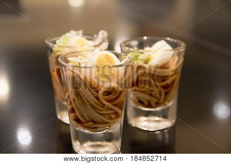 delicious of Cold Soba noodles with egg