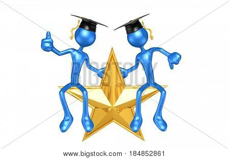 Graduates Sitting On A Star The Original 3D Characters Illustration