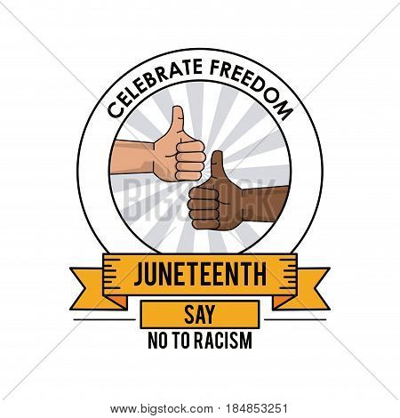 juneteenth day celebrate freedom thumbs up poster vector illustration