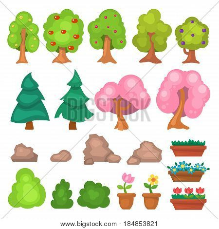 Flowers grass big and small garden trees and flowers game park elements vector illustration. Nature forest green plant icon bush landscape collection natural foliage.