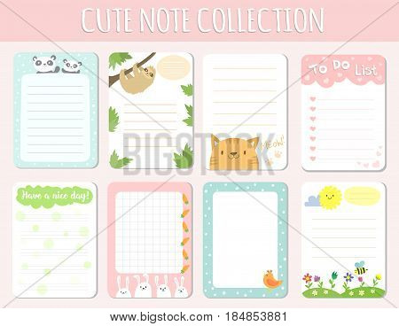 Baby shower invitations cards poster greeting template kids paper layout design sheets dairy vector illustration. Birthday cute party greeting scrapbook congratulate template note list