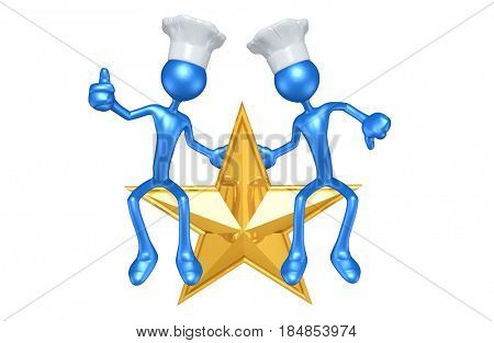 Chef's Sitting On A Star The Original 3D Characters Illustration